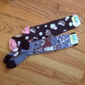 NWT knee hi socks. Brown hedgehog & Gray deer